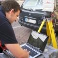 Laserscanner mit Equipment im Aufbau