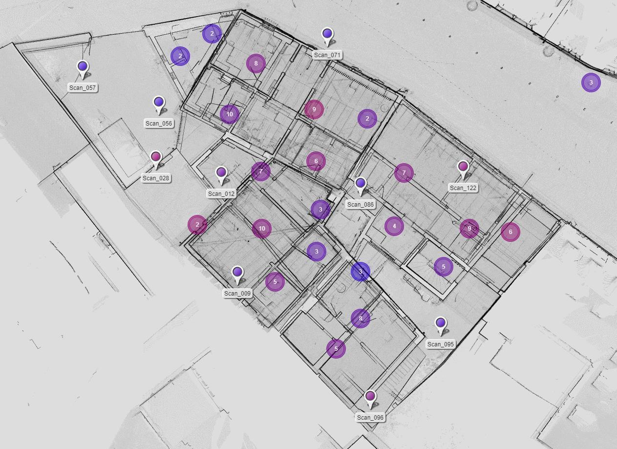 Übersicht der Scanner-Standpunkte innerhalb des mittels Punktwolke erstellten Übersichtsplans