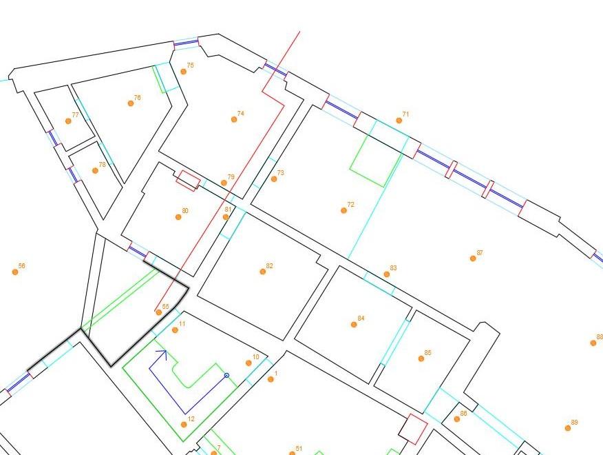 Ausschnitt des Erdgeschossgrundrisses inkl. Scanner-Standpunkten und Einzeichnung der Lage von Profilschnitt A
